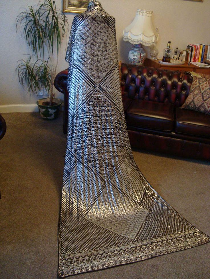 Large & Heavy Vintage Black Net & Silver Coloured Metal Art Deco Assuit Shawl