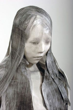 """Midori Harima - """"Lost acquisition"""" 2007 paper, Xerox copy on archival Japanese paper, methyl cellulose paste, archival tape, paper clay,frame"""