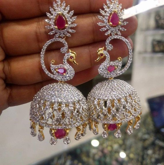 5e6ad55bf Extremely Pretty Jhumkas Earrings in American Diamonds   Ruby s Stones (1gm  Gold) - Traditional and