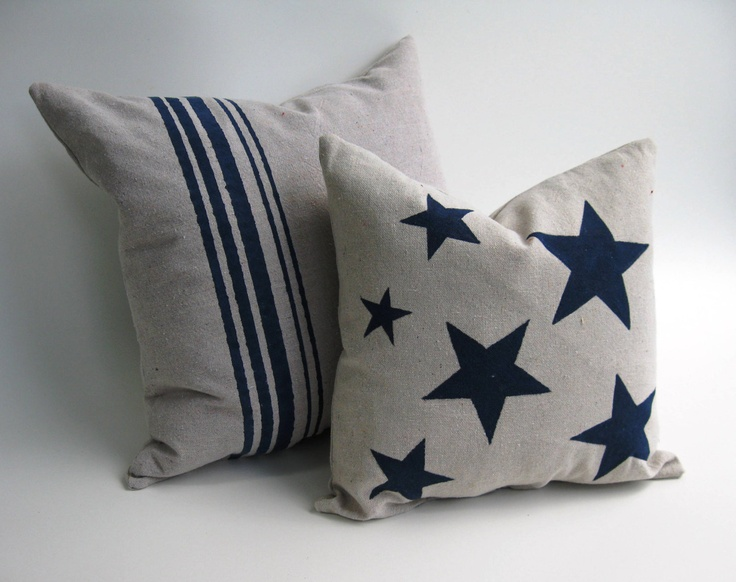 Down Feather Inserts Included, Hand-Painted Navy Blue Stars and Stripes Pillows, Pair  SHIPPING INCLUDED. $70.00, via Etsy.