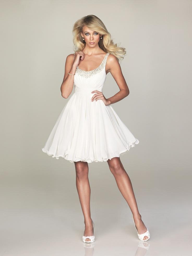 mia bella short white dress fir rehearsal dinner YES!