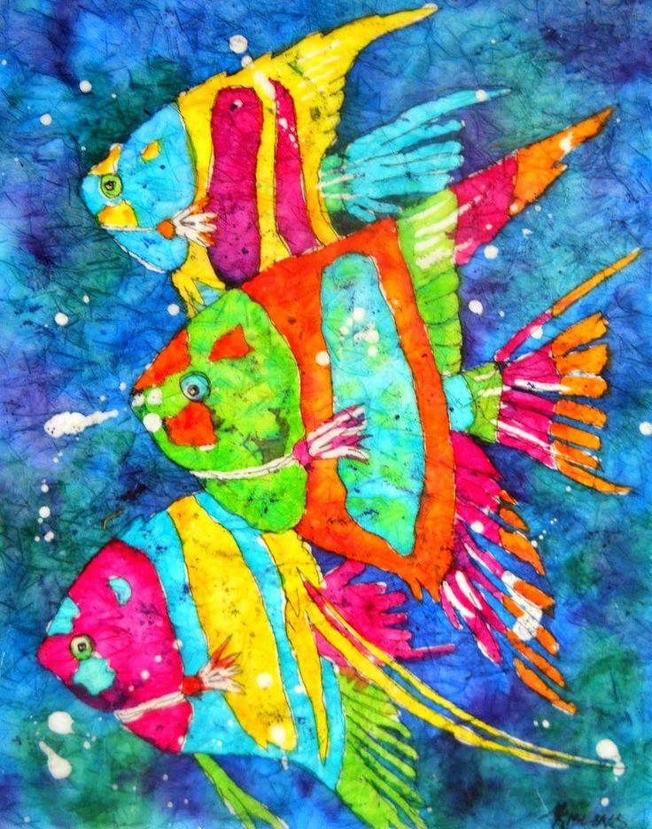 64 best watercolor batik paintings images on pinterest for Tropical fish painting