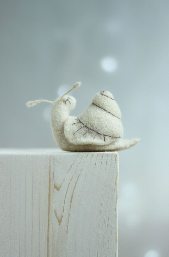 Needle Felt Snail Dreamy White Snail Needle by FeltArtByMariana