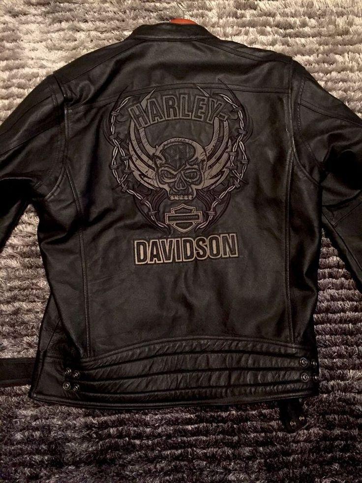 Harley Davidson Mens MEDIUM Reflective Leather Jacket Limited Collection RARE