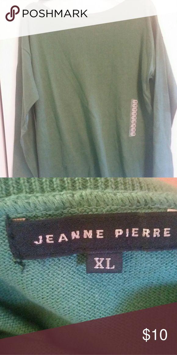 NWT Jeanne Pierre boat neck sweater Pretty green with ribbed neckline Jeanne Pierre Sweaters