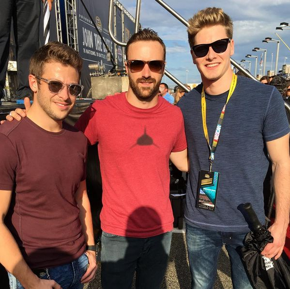 Marco Andretti, James Hinchcliffe, and Josef Newgarden at the final NASCAR race of the season in Homestead