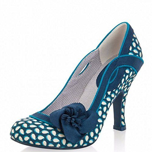 Ladies Ruby Shoo Amy Navy Polka Dot 1950s Vintage Rockabilly Retro Shoes-Uk 7 (eu 40)