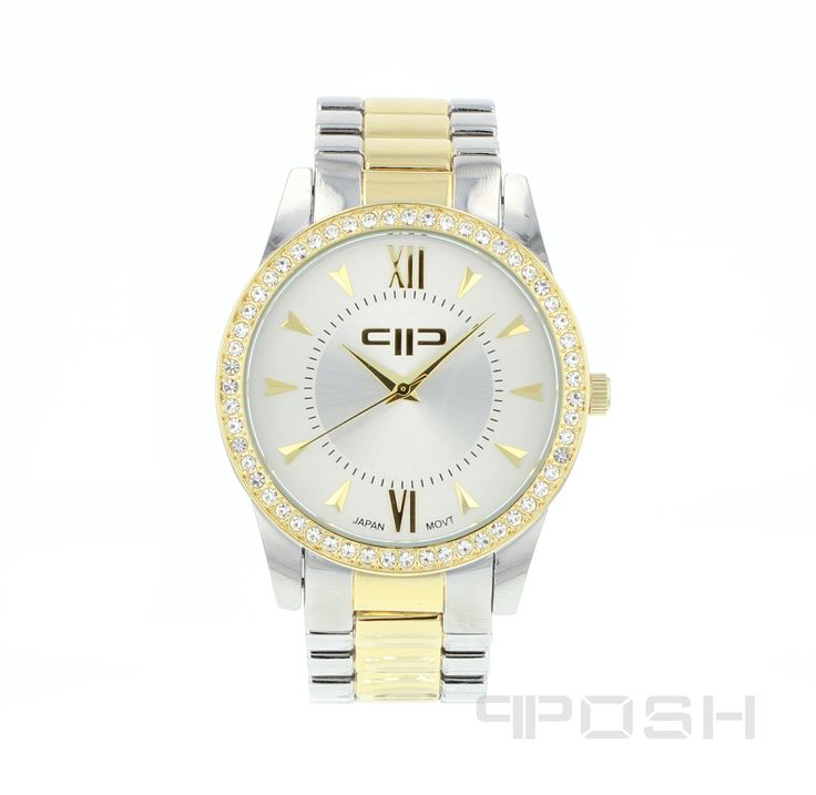 Adrian - Watch - Silver and Gold.  - Modern and timeless face design - Plated in a gorgeous 2-tone - Face features exclusive POSH design - Bracelet and full casing made in stainless steel - Embellished with sparkling clear stones - Water resistant up to 5 ATM - Extra links available - Japanese movement  Dimensions Face: 30mm diameter   POSH by FERI - Passion for Fashion - Luxury fashion jewelry for the designer in you.  #Jewellery   #watches