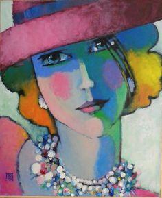 regard de femme 5 (Painting), 60x73 cm by Odile Chodkiewicz Femme Russe à Paris