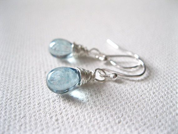 Ice Blue Petite Teardrop Sterling Silver Earrings by blossomingsilver - Love this colour =)
