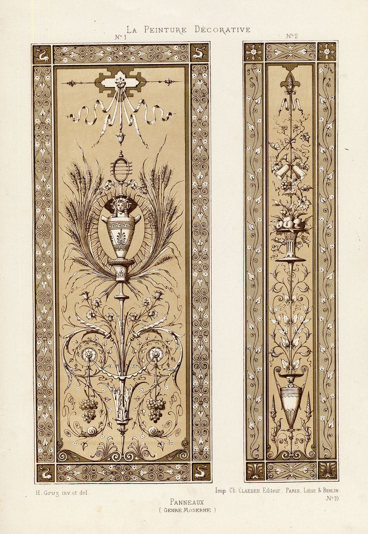 Antique Print-DECORATION-ORNAMENT-18TH CENTURY STYLE-PANEL-PLATE 19-Gruz-1860 | eBay