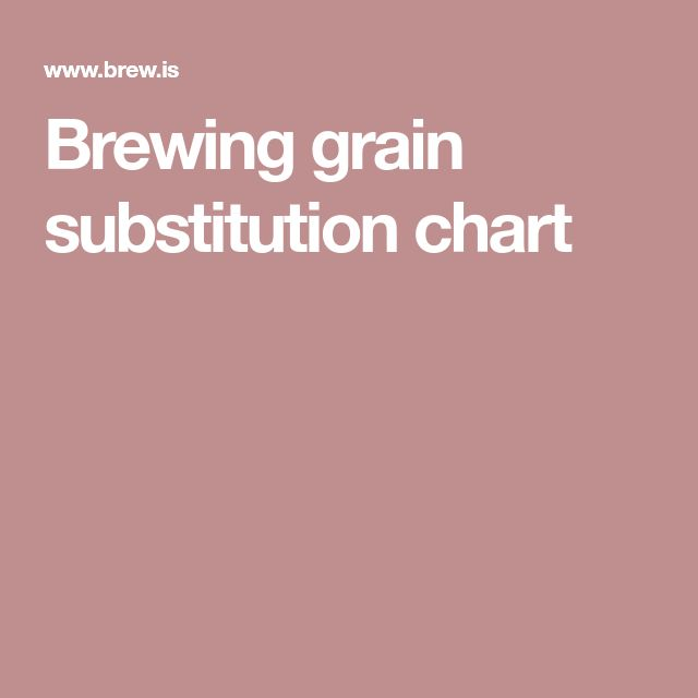 Brewing grain substitution chart