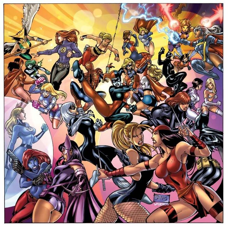 Marvel VS DC girls. Of course it is a tight fight without Wonder Woman in it!