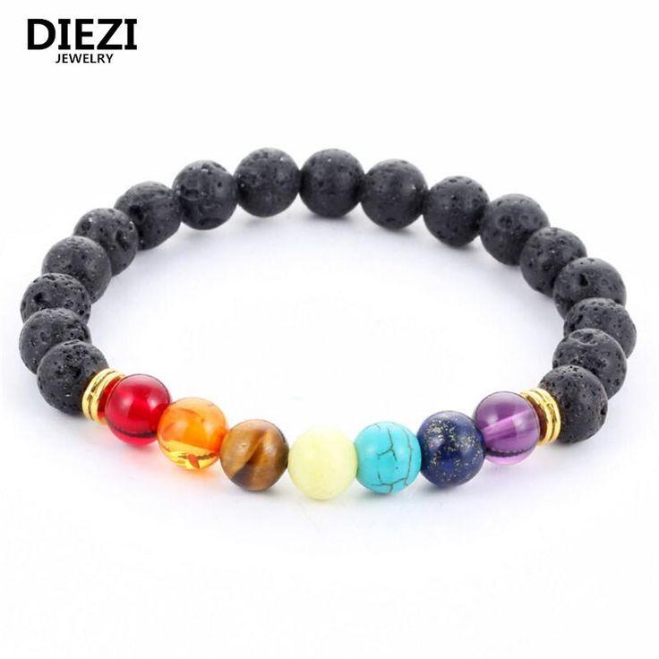 Black Bracelets Lava 7 Chakra Healing Balance Beads Bracelet For Men & Women Reiki Prayer Stones