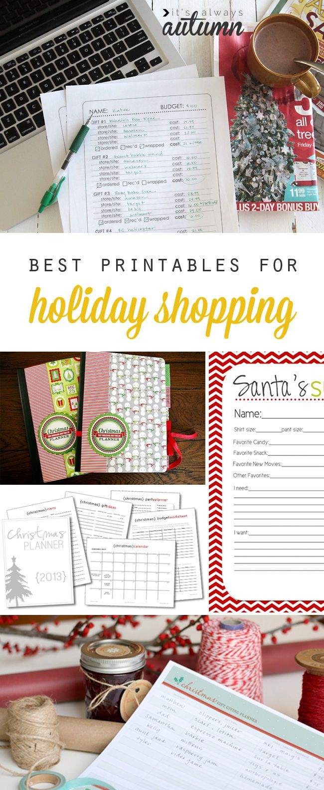 get organized and stay on budget this Christmas with these free holiday shopping printables