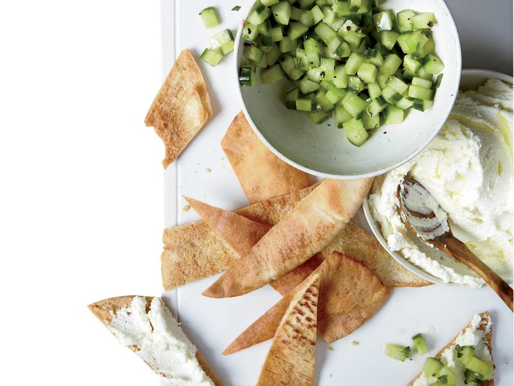 Whipped Feta with Cucumbers | The taste of the Mediterranean shines through in this airy feta spread that's served with olive oil–marinated cucumbers.