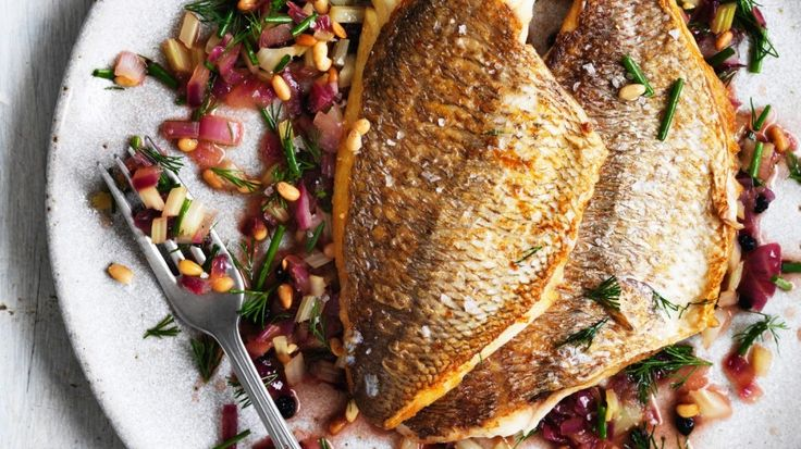 Neil Perry's crispy skinned, sweet and soup snapper with Sicilian salsa! Bring it on.