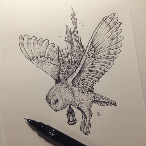 Das erinnert mich an Hogwarts und Hedwig! Illustrationsarbeit des philippinischen Künstlers, Kerby Rosanes. Sehen Sie seine Arbeit auf seiner Website, seiner DeviantArt, seiner Facebook-Seite und auf Instagram. | timeturnershoppe.tumblr.com