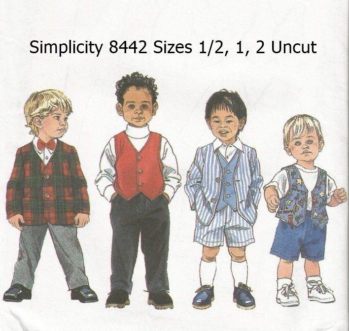 Simplicity+Pattern+8442+Toddler+Suit+Jacket+Vest+Pants+Shorts+Uncut+Size+1/2+1+2