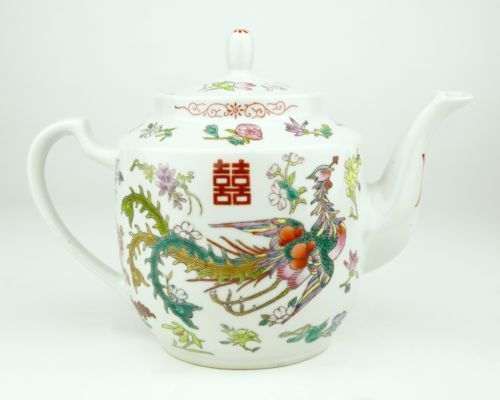 """Gorgeous colorful vintage tea set depicting a dragon and phoenix design surrounded by many different flowers.  Hand-painted enamel on porcelain.  This set includes a teapot, tray and three tea cups.  Stamped, """"Made in China 11"""" with the Chinese characters for Zhongguo Jingdezhen.  c. 1980s.  #teapot #teaset #dragons #phoenix $138.00 http://www.ebay.com/itm/Chinese-Porcelain-Dragon-Phoenix-Tea-Set-Teapot-Tray-Cup-Ceramic-Enamel-Colorful-/132001586741?hash=item1ebbe85e35"""
