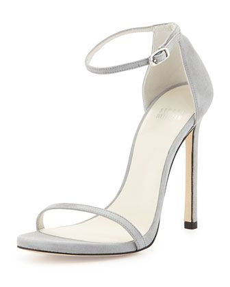 Nudist Suede Ankle-Strap Sandal, Mist by Stuart Weitzman at Neiman Marcus.