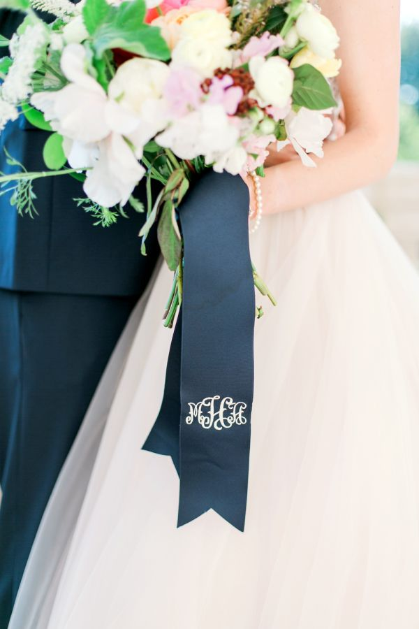 Pretty monogrammed bouquet ribbon: http://www.stylemepretty.com/oklahoma-weddings/2016/02/03/colorful-preppy-museum-wedding-in-oklahoma/ | Photography: Aubrey Marie - http://www.aubreymariephoto.com/