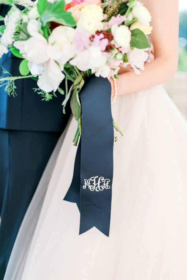 Pretty monogrammed bouquet ribbon: http://www.stylemepretty.com/oklahoma-weddings/2016/02/03/colorful-preppy-museum-wedding-in-oklahoma/ | Photography: Aubrey Marie - http://www.aubreymariephoto.com/