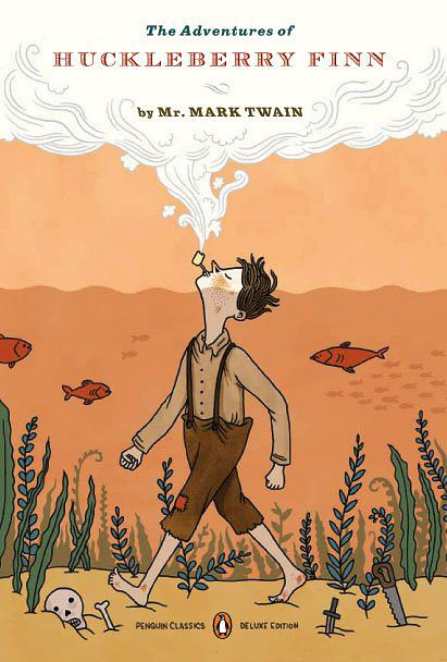 Illustration by Lilli Carre Book cover for the Penguin edition of Adventures of Huckleberry Finn