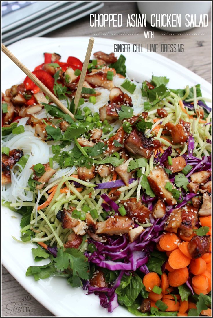 Chopped Asian Chicken Salad with Ginger Chili Lime Dressing - a delightful salad full of flavor and a touch of heat.