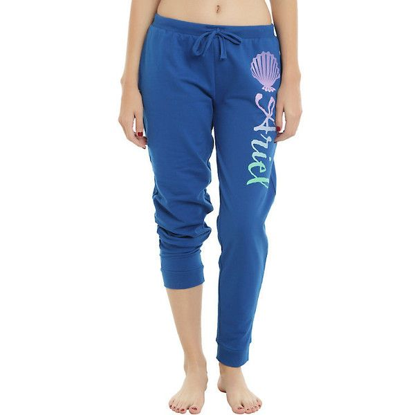 Disney The Little Mermaid Ariel Logo Jogger Pants ($21) ❤ liked on Polyvore featuring disney