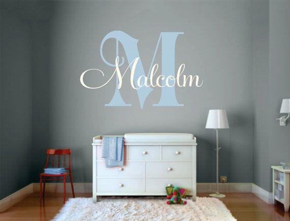 Custom Name Decal Initial and Name vinyl Monogram by SignJunkies