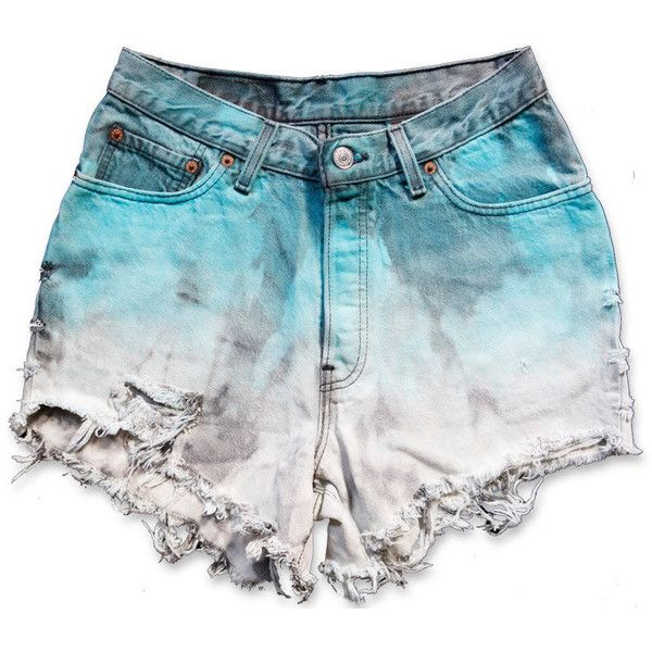 Vintage 90s Levi's Turquoise Blue White Dyed Bleached Ombré Wash High... (195 BRL) ❤ liked on Polyvore featuring shorts, bottoms, high rise denim shorts, white denim shorts, white jean shorts, denim shorts and high-waisted jean shorts