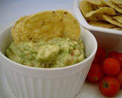 Avocado salsa dip with corn chips