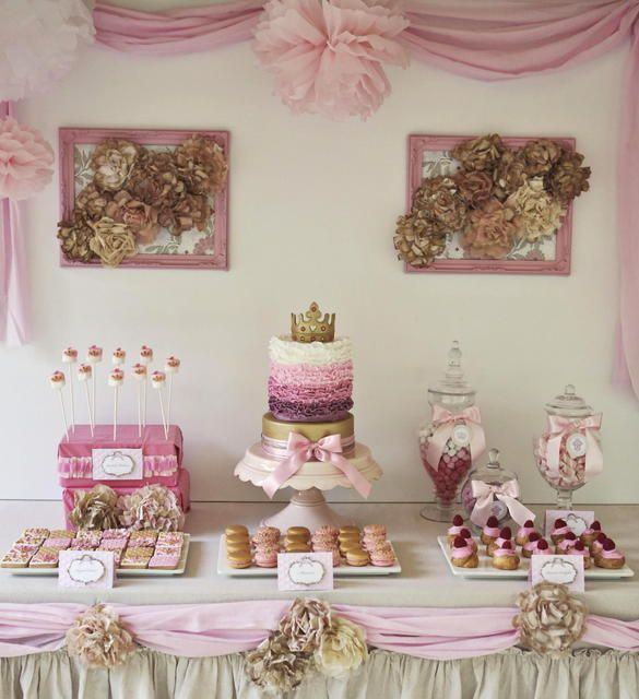 prettiest princess party dessert table