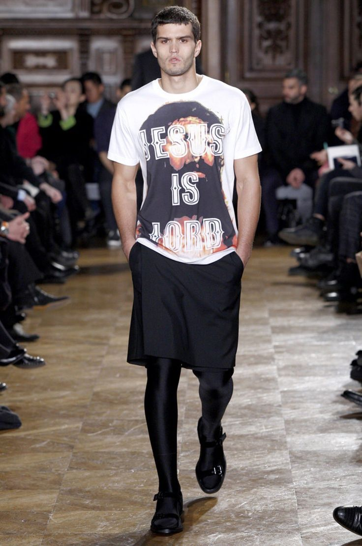 These sporty leggings and religious graphics had more than a bit of health Goth to them on the Fall 2010 men's runway.