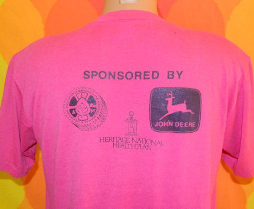 Sweet 80 S Vintage Magenta T Shirt With Tractor Trot