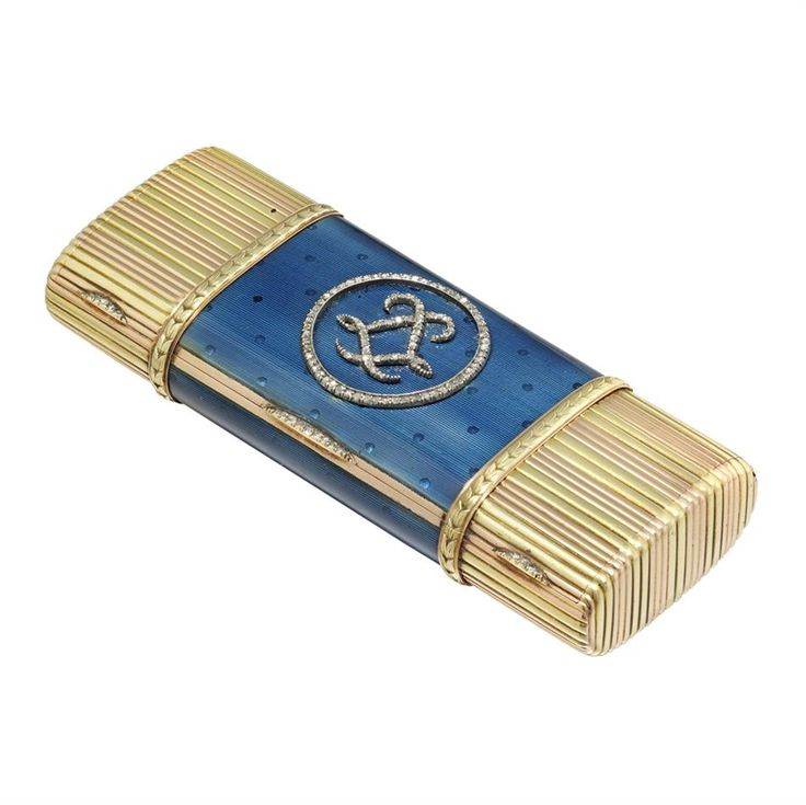 A FABERGÉ GOLD AND BLUE ENAMEL VANITY CASE  http://www.bentley-skinner.co.uk/catalog/categories/Faberge