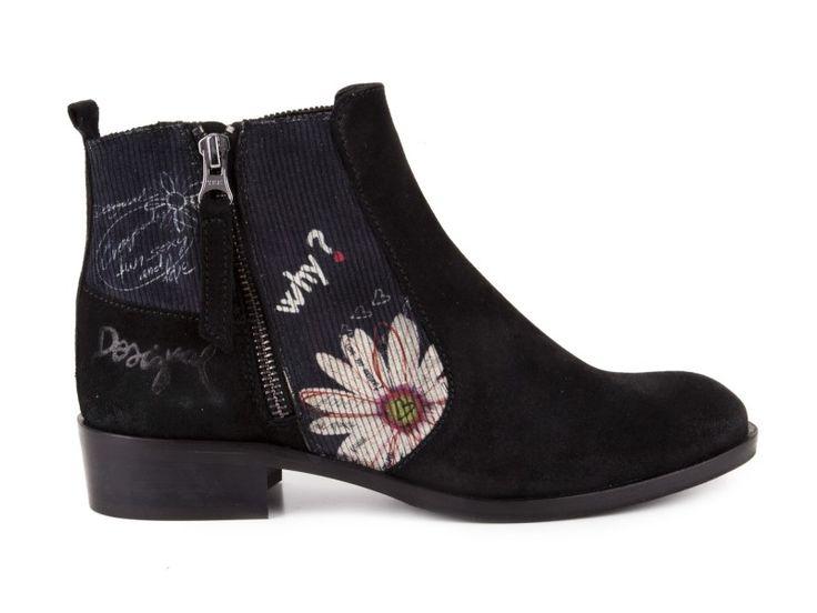Desigual - Kotníkové boty na nízkém podpatku SHOES FLORIA / černá | obujsi.cz - dámská, pánská, dětská obuv a boty online, kabelky, módní doplňky