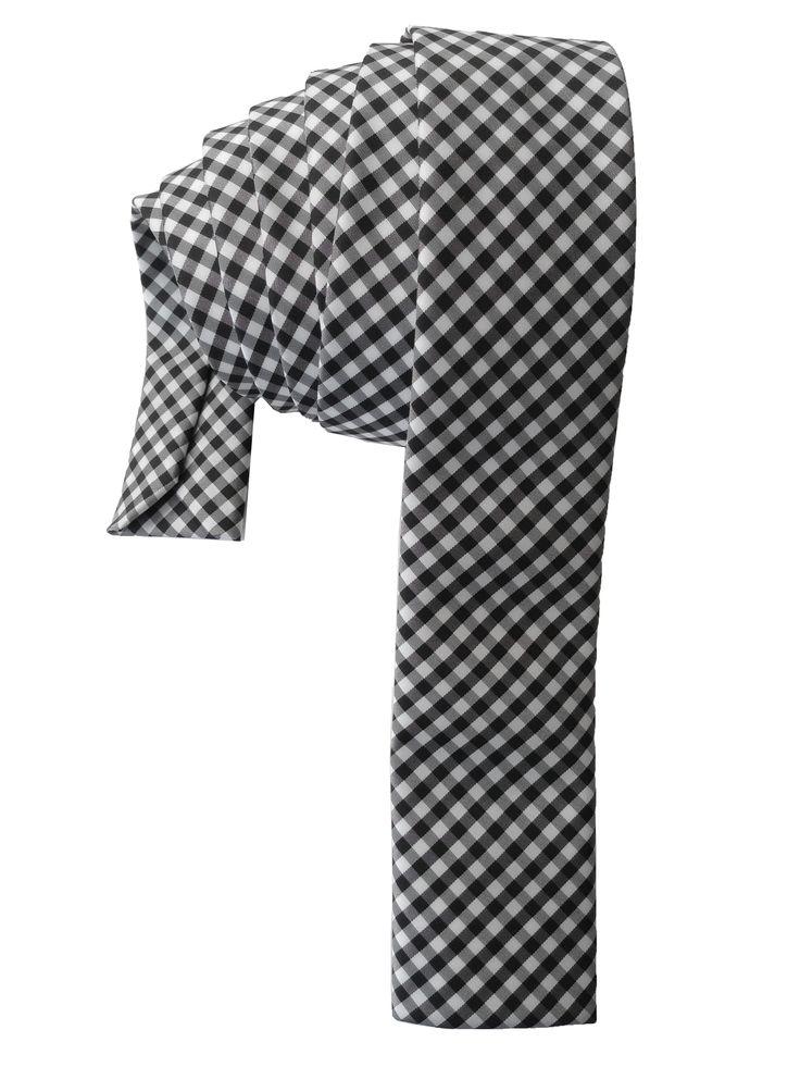 Black & White Flat/Square tip Gingham Skinny Tie