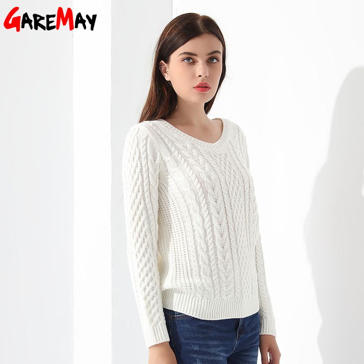 Women Sweaters And Pullovers Long sleeve Knitted White Women's Sweater Female Winter V Neck Sueter Mujer Pull Femme 2017 GAREMAY-in Pullovers from Women's Clothing & Accessories on Aliexpress.com | Alibaba Group