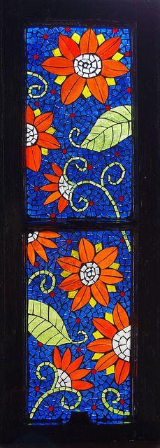 Mosaic stained glass on salvaged window: Mosaics Flowers, Glasses Mosa, Art Gardens, Orange Flowers, Mosaics Artists, Mosaics Window, Glasses Window, Mosaics Glasses, Stained Glasses