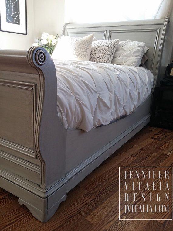 Sleigh Bed Gray Handpainted Custom Orderd by VITALIADESIGN