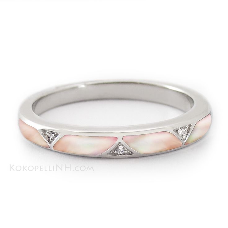 """We love the feminine look of this unique wedding band. """"Moonlit Petal - Passage"""" Women's Pink Mother of Pearl Band with Diamonds."""