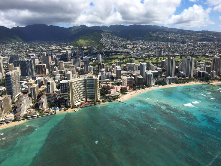 View from a helicopter over Waikiki.
