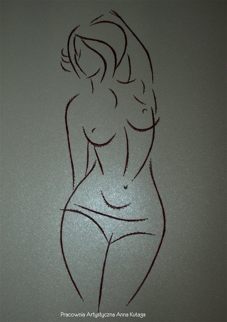 Stiching card - women nude by Anna Kułaga