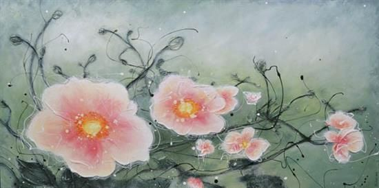 Orange Art Gallery - Julie Berthelot - Isabelle's Garden. Painting. Flowers. Urban Nature. Art.