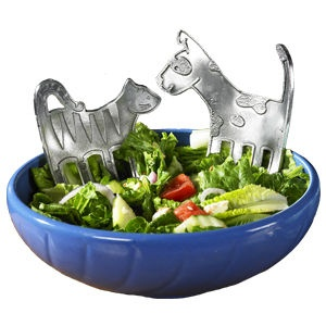Hand Crafted Pewter Dog and Cat Salad Servers - Whiskers & Spot $68
