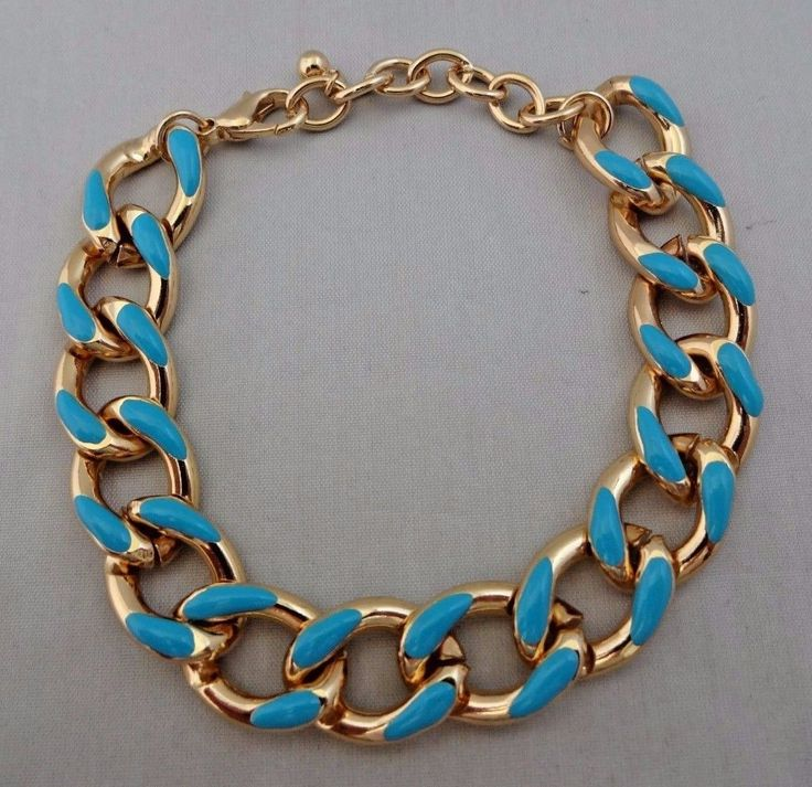 Cable Chain Bracelet Gold-Tone 7 To 9 Inches Adjusts Lobster Clasp Turquoise