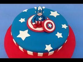 Tarta de fondant del Capitán América. Captain America fondant cake