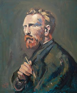 After years of scientific and historic research the portrait painting of Vincent van Gogh, oil painted in 1886 by John Peter Russell is finally repainted by Nop Briex in acrylic with Van Gogh's exact head shape and right look. The grand showdown took place a little while ago...